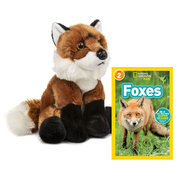 10 Inch Plush Red Fox Stuffed Animal Set with National Geographic Readers Foxes (L2)
