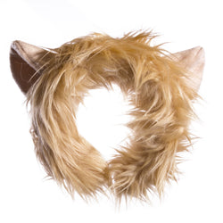 Plush Lion Ears Headband Accessory for Lion Costume, Pretend Animal Play or Safari Party Costumes