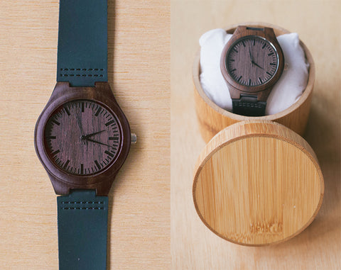 Blackwood From Classica | Wood Watch With Bamboo Box | 43mm | Dress Watch W Bamboo Gift Box |