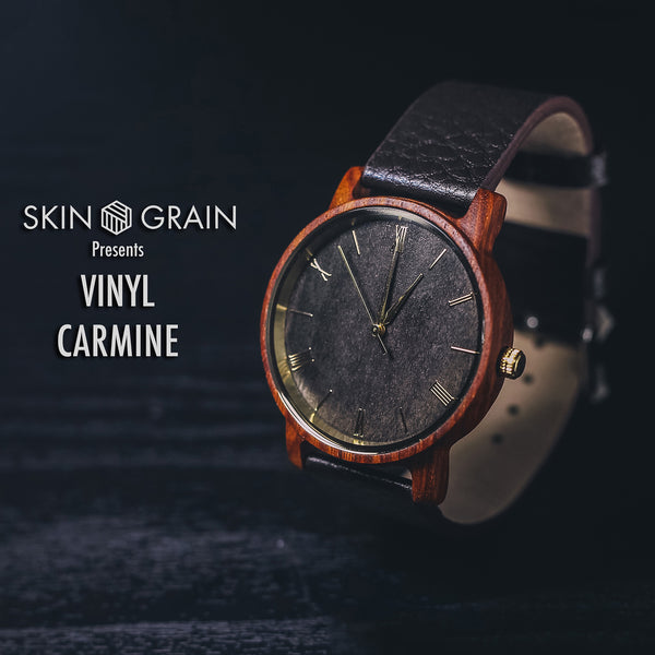 Vinyl Wood Watches |The Carmine| Interchangeable Watch Bands|