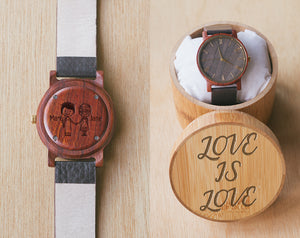Lesbian Wedding Marriage Gift | Vinyl | Wood Watch With Bamboo Box | 40mm | Dress Watch |