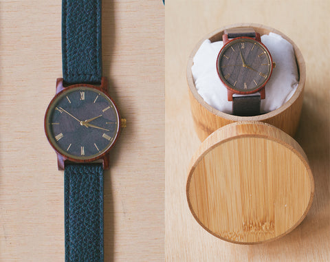 Carmine From Vinyl | Wood Watch With Bamboo Box | 40mm | Dress Watch W Bamboo Gift Box |