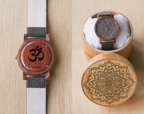 Mandala Gift Set | Ohm Wood Watch | Vinyl | Wood Watch with Bamboo Box | 40mm | Spiritual Gifts