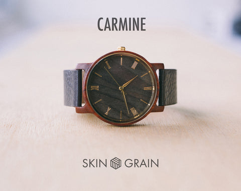 Carmine From Vinyl | Wood Watch | 40mm | Dress Watch |
