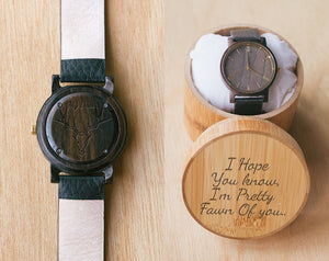 Dear Deer Gift Watch | Vinyl | Wood Watch with Bamboo Box | 40mm | Animal Lover Gifts
