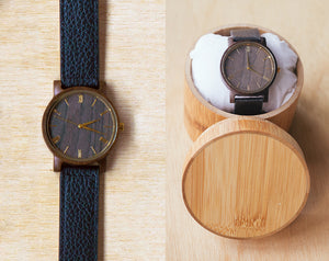 Ebony From Vinyl | Wood Watch With Bamboo Box | 40mm | Dress Watch W Bamboo Gift Box |