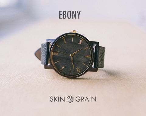 Ebony From Vinyl | Wood Watch | 40mm | Dress Watch |