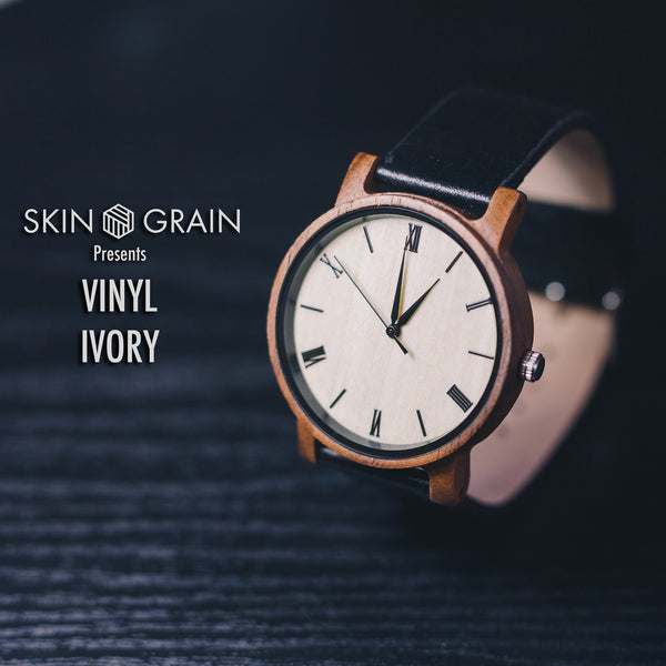 Vinyl Wood Watches |The Ivory| Interchangeable Watch Bands|
