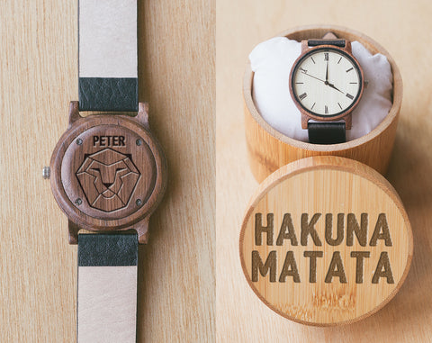 Hakuna Matata Engraved Watch | Vinyl | Wood Watch with Bamboo Box | 40mm | Animal Lover Gifts