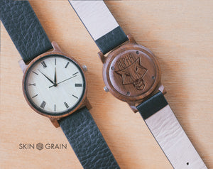 Alpha Wolf Engraved Watch | Vinyl | Wood Watch | 40mm | Dress Watch |