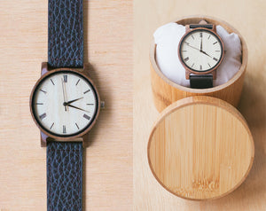 Ivory From Vinyl | Wood Watch With Bamboo Box | 40mm | Dress Watch W Bamboo Gift Box |