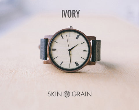 Ivory From Vinyl | Wood Watch | 40mm | Dress Watch |