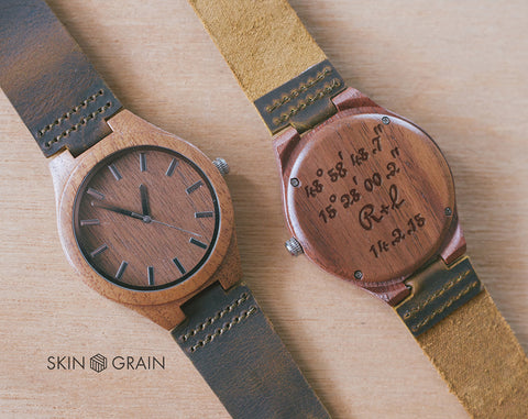 Coordinates Gift Watch | Classica | Wood Watch | 43mm | Dress Watch | Gifts for lovers