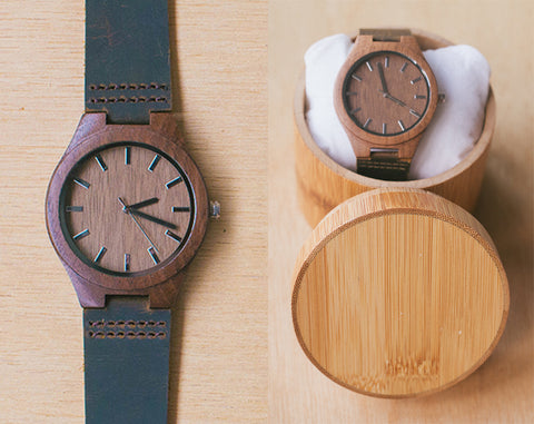 Oak From Classica | Wood Watch With Bamboo Box | 43mm | Dress Watch W Bamboo Gift Box |