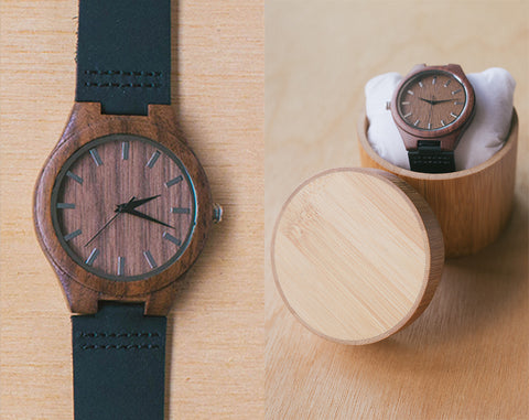 Oak Noir From Classica | Wood Watch With Bamboo Box | 43mm | Dress Watch W Bamboo Gift Box |