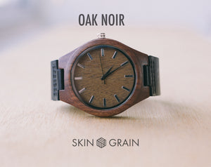 Oak Noir From Classica | Custom Wood Watch With Leather Strap | 43mm