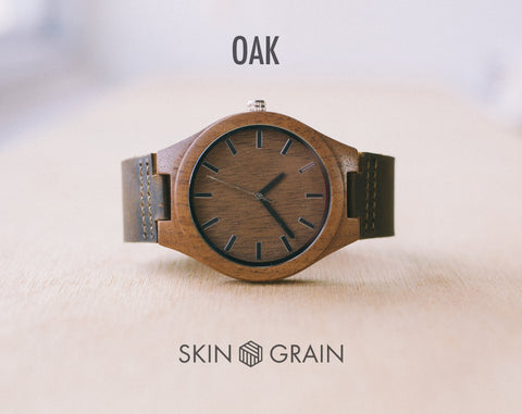 Oak From Classica | Custom Wood Watch With Leather Strap | 43mm