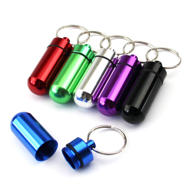 FREE SHIPPING! Waterproof Aluminum Keychain Pill/Tablet Container