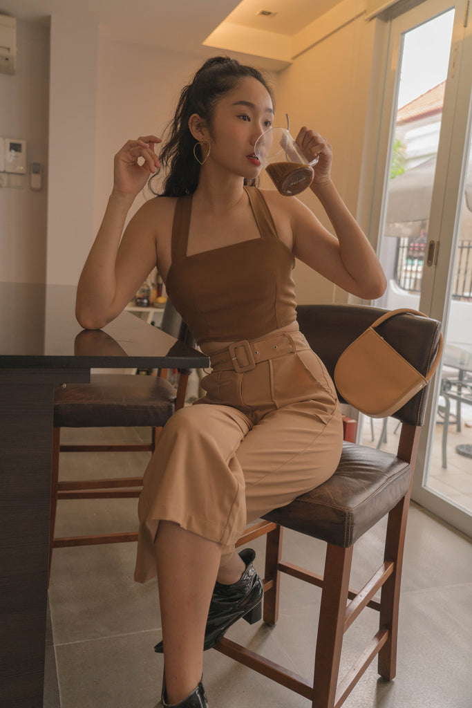 *Back Order* Diagonal Top in Mocha Brown