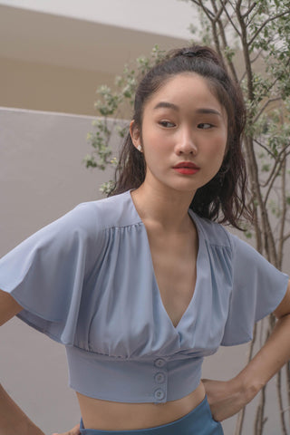 Bell Curve Top in Blue Jay
