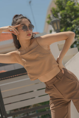 Polygon Top in Wheat Beige