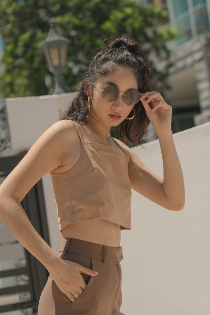 Polygon Top in Tortilla Brown