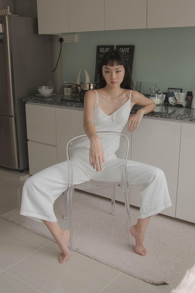 Lights Out Jumpsuit in white