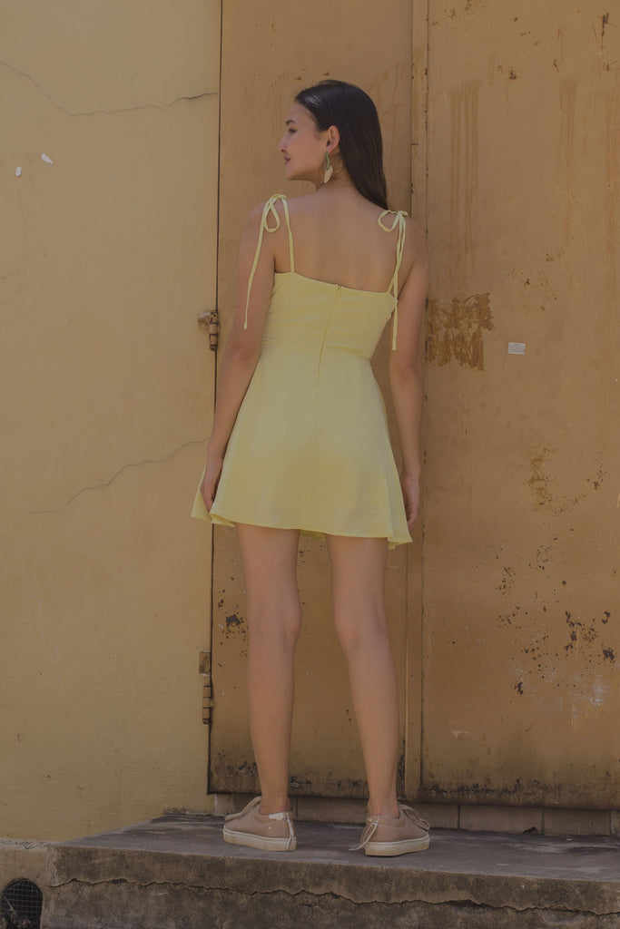 Knotty and Nice Romper in Pale Daffodil