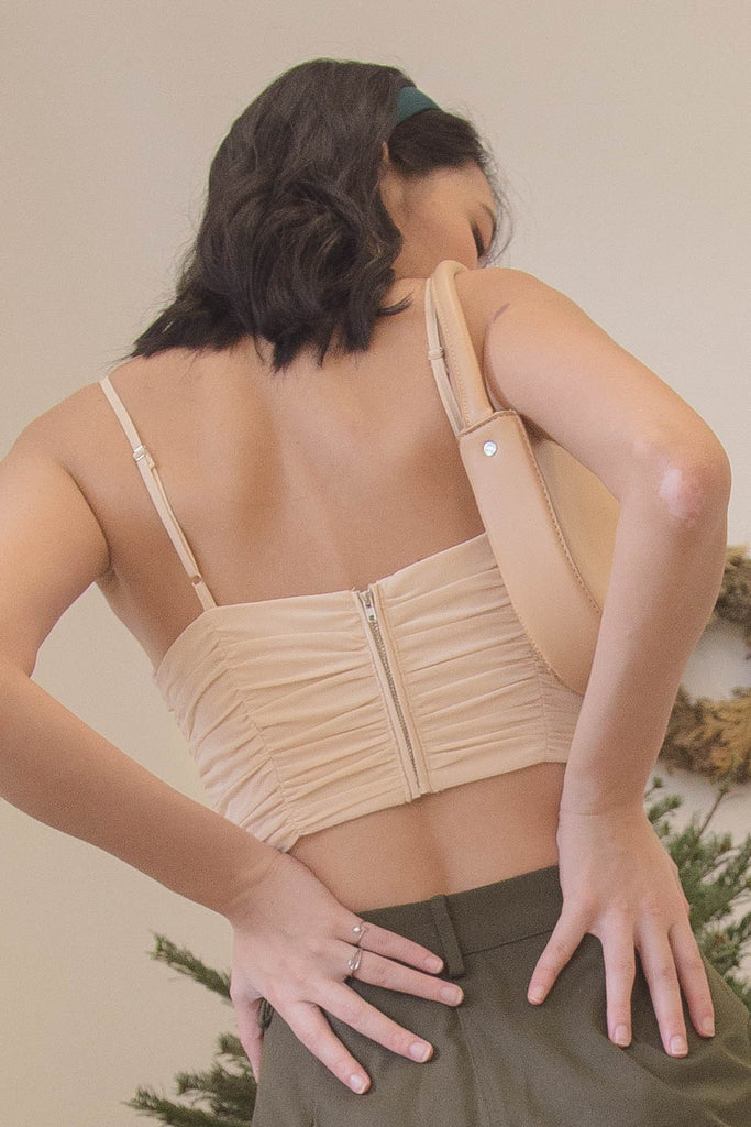 *BACK ORDER* Darling Ruched Top in Apple Core Cream