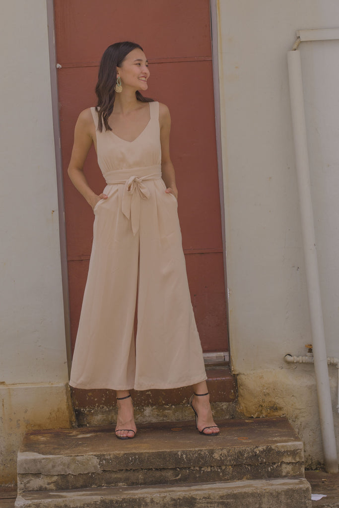 Volatile Jumpsuit in Honey Beige
