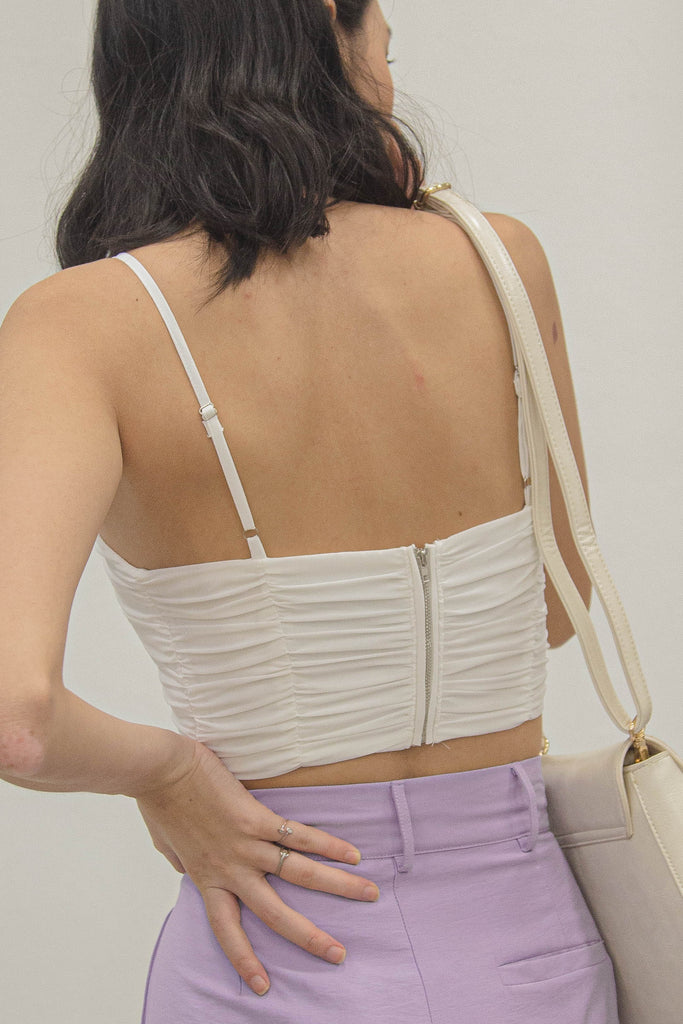 *BACK ORDER* Darling Ruched Top in White