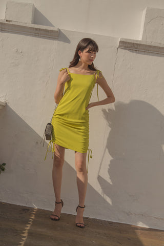 Tilt Toga Top in Neon Yellow