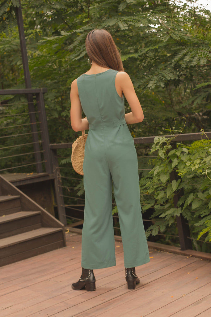 Side Effect Jumpsuit in Faded Pine Green