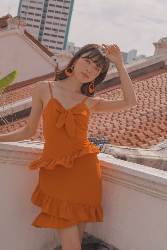 Twist It Dress in Carrot Orange