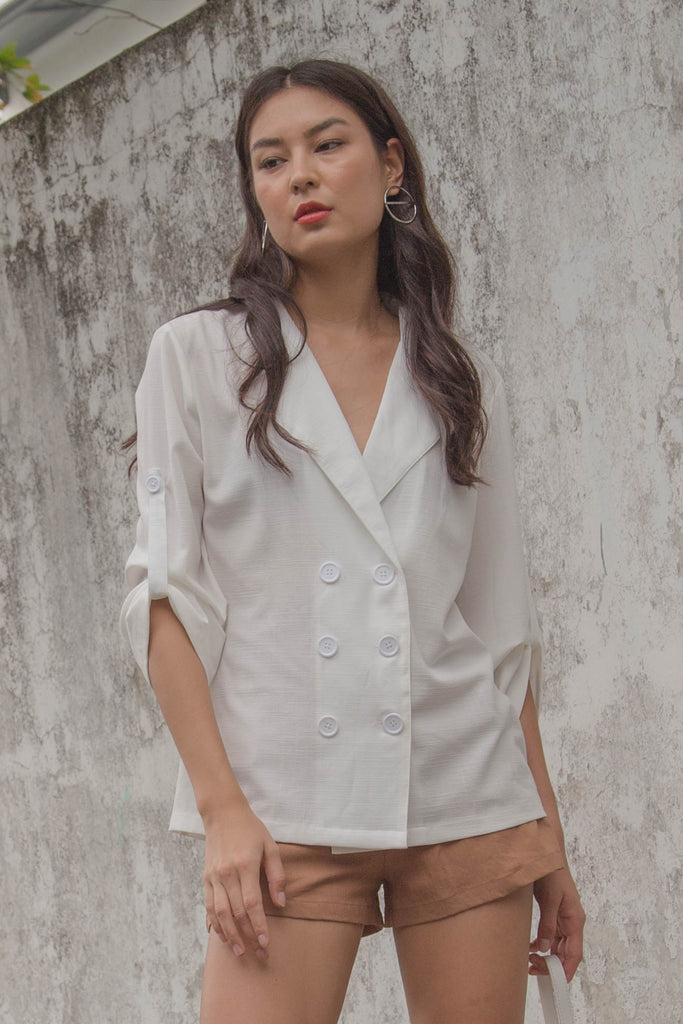 Easy Going Blazer Top in White