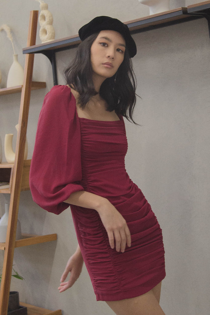 In Your Dreams Dress in French Wine Red