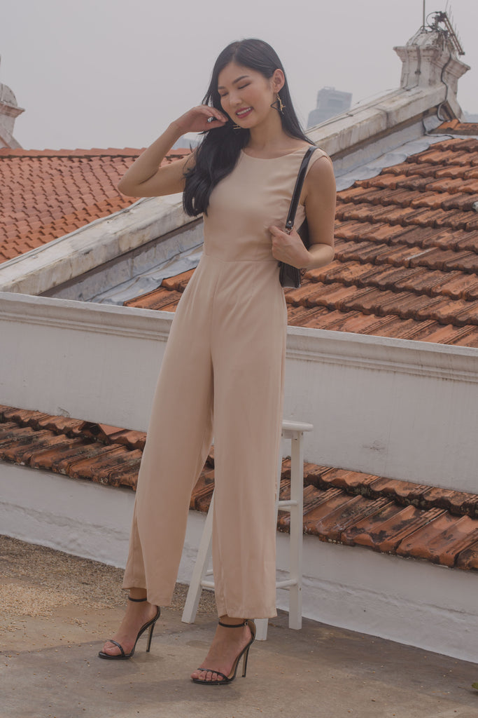 Drop It Jumpsuit in Peach Beige