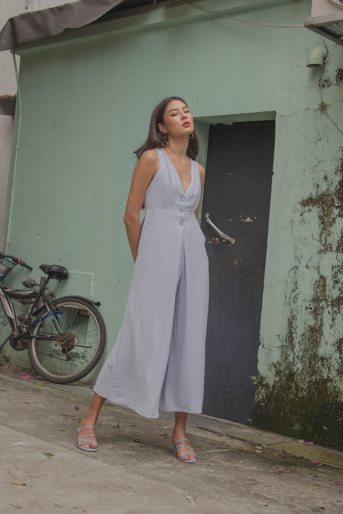 *Back Order* Crossroads Jumpsuit in Pastel Blue