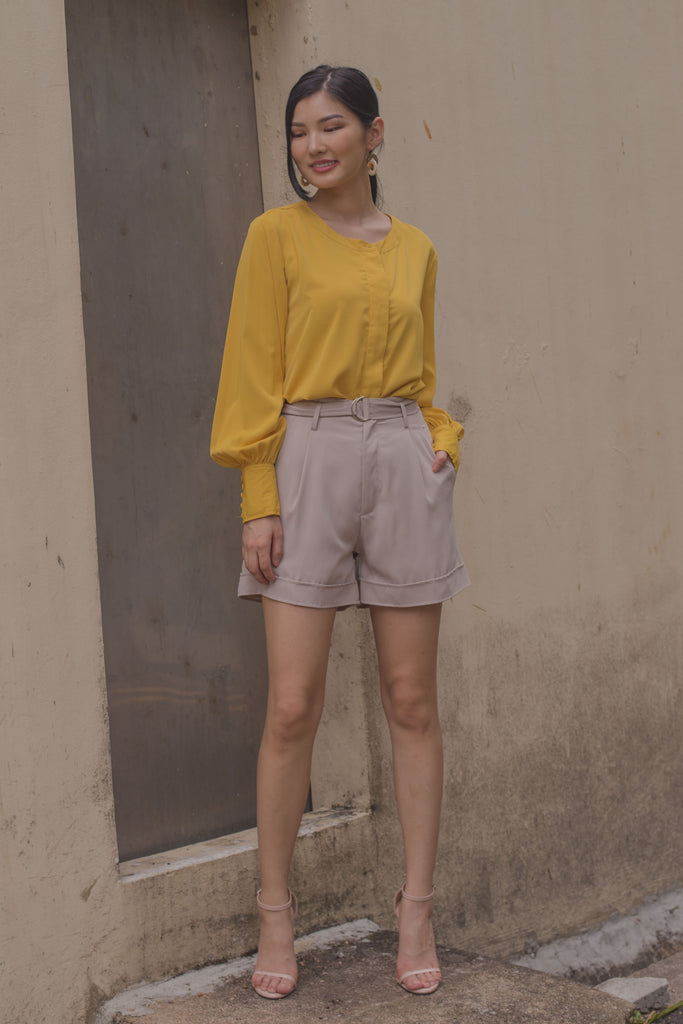 Balloon Sleeve Shirt in Butter Yellow