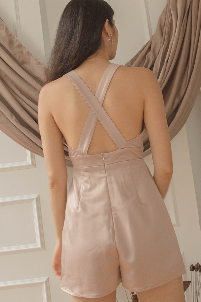 After Hours Romper in Hush Beige