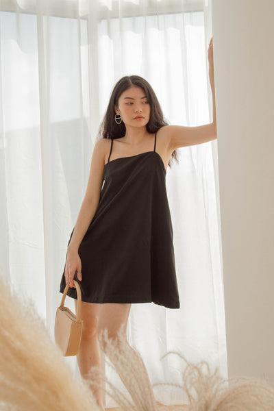 Clear-Cut Cami Dress in Black