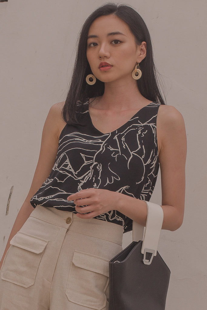 Ease Top in Black Crack Print