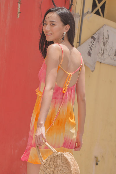 Summer Date Dress in Yellow Tie Dye