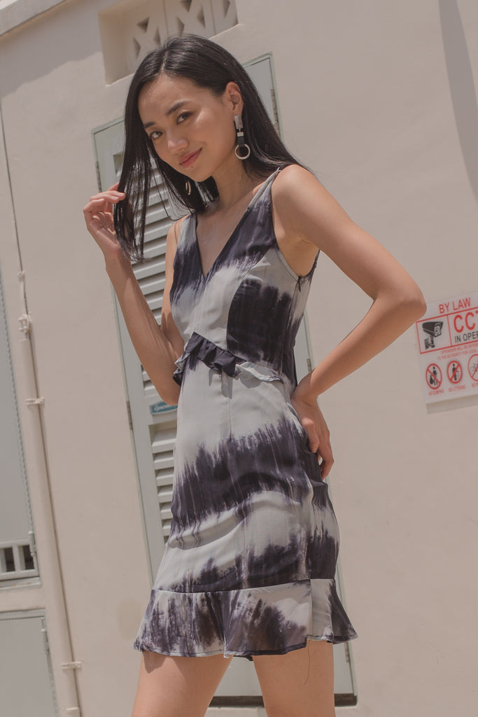 Summer Date Dress in Black Tie Dye