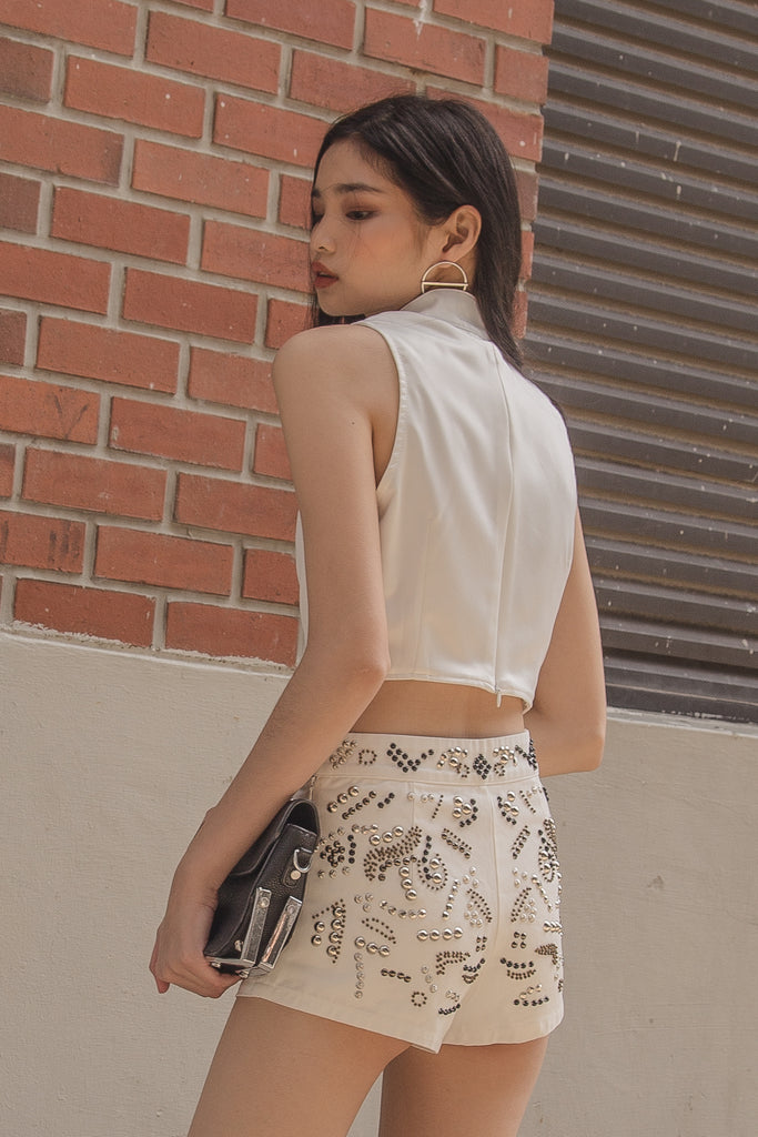 Dua Beaded Shorts in White