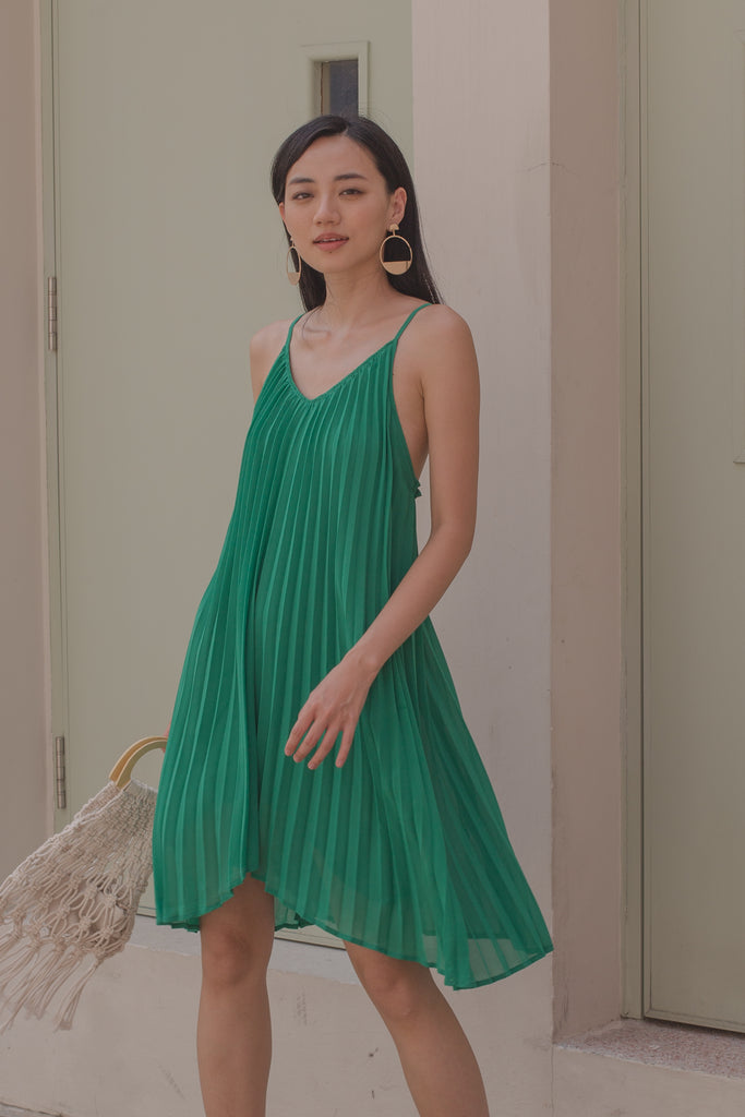 Pleats and Thank You Dress in Kelly Green