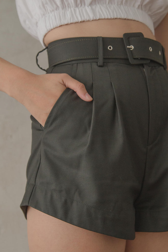 *Back Order* Upside Shorts in Seaweed Green