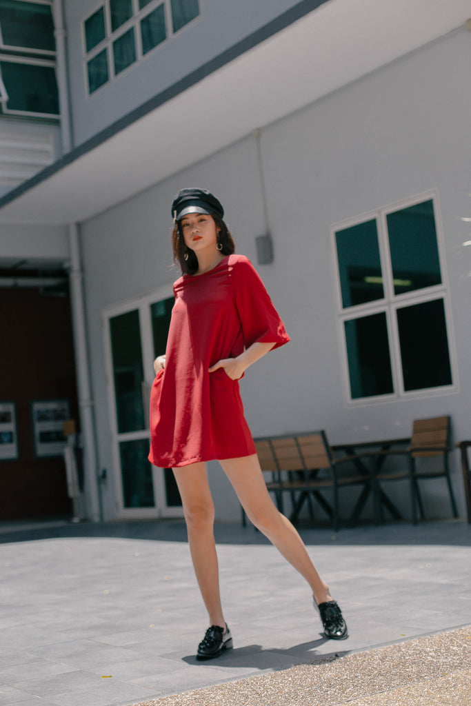 Clean Slate Dress in Berry Red