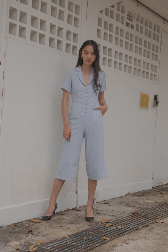 Boundless Buttons Jumpsuit in Light Blue