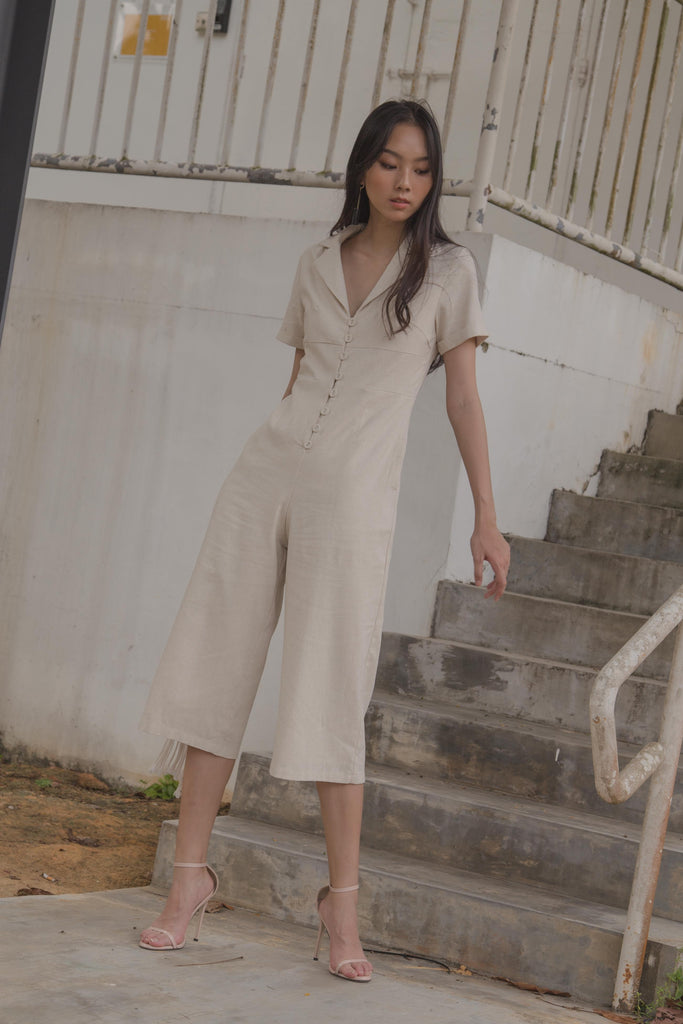 Boundless Buttons Jumpsuit in Ecru